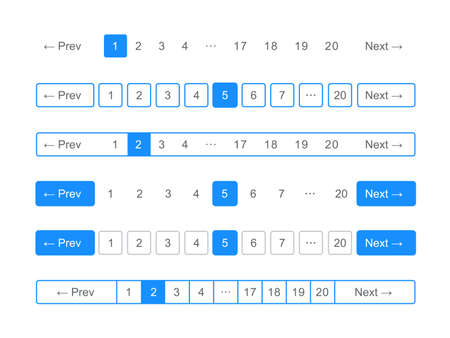 Pagination bars and web buttons vector templates for page navigation arrows and numbers interface Vettoriali