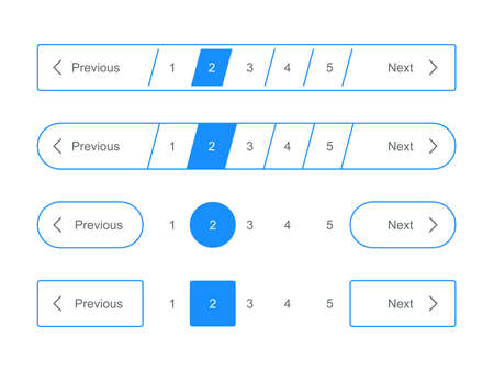 Pagination bars and web page navigation vector templates for pagination interface