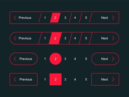 Pagination bars and web page navigation vector templates for pagination dark interface