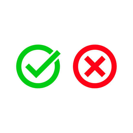 Tick and red checkmark vector icons for checkbox symbols in cricles