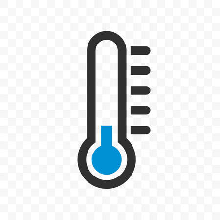 Thermometer vector icon with blue cold low temperature scale for weather or medicine