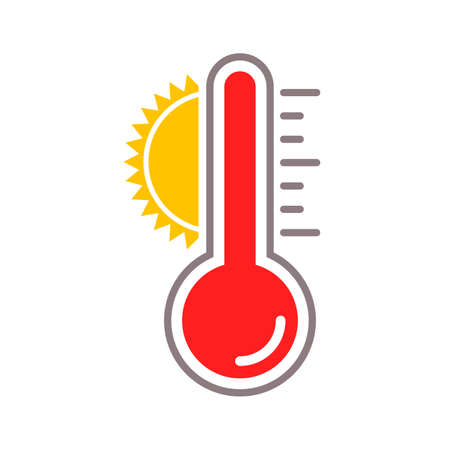 Thermometer vector icon with sun heat temperature scale for summer weather Иллюстрация