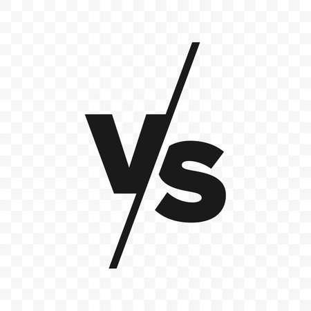 VS versus brieven vector logo geïsoleerd op een witte achtergrond. VS versus symbool voor confrontatie of oppositie ontwerpconcept