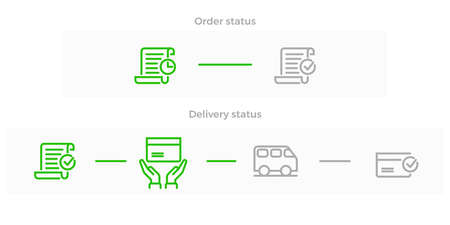 Order delivery and logistics line icon for online shop tracking web design. Vector symbols of order received, in transit and delivered with courier van or truck to house