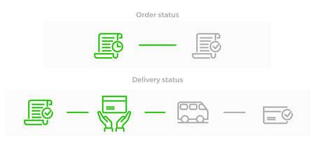 Icono de línea de entrega y logística de pedidos para el diseño web de seguimiento de tiendas en línea. Símbolos vectoriales de pedido recibido, en tránsito y entregado con camioneta de mensajería o camión a casa