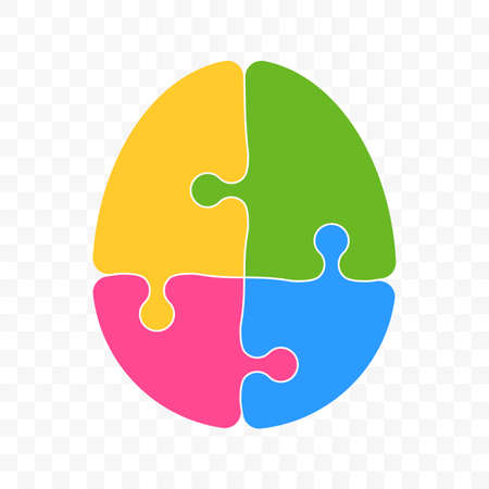 Brain puzzle vector logo creative idea and smart logic thinking mind concept. Icon of artificial intelligence, quest or trivia game for mobile app