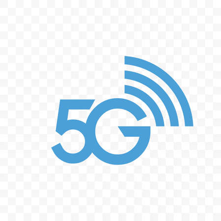 5G internet network vector . Isolated icon for 5 G mobile net or wireless high speed connection and data transmission technology and smartphone UI app design