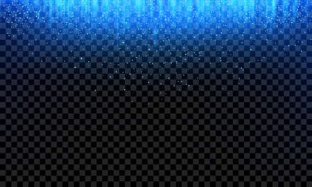 Blue glitter falling or neon light rays and glittery snow on abstract transparent background