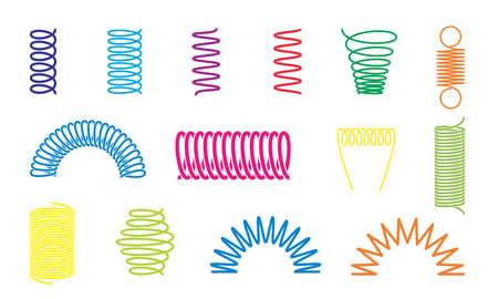 Spiralfedern in verschiedenen Farben, Formen und Typen. Vektorsymbole von Wirbellinien oder gekrümmten Drahtseilen, Stoßdämpfern oder Geräteteilen Vektorgrafik