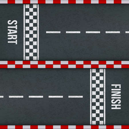 Start and finish rally races line track marking. Car or karting road racing vector background top view with red checkered borders