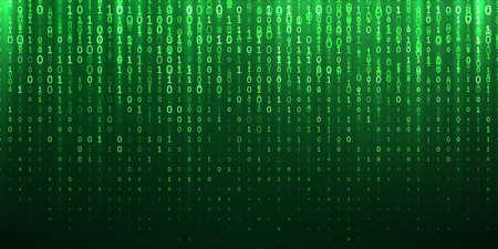 Abstrait de code binaire vert. Le vecteur 1 et les chiffres binaires tombent dans la matrice du cyberespace étincelante Vecteurs