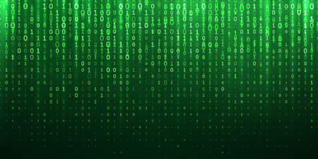 Binary code green abstract background. Vector 1 and bit digits fall flow in sparkling cyberspace matrix