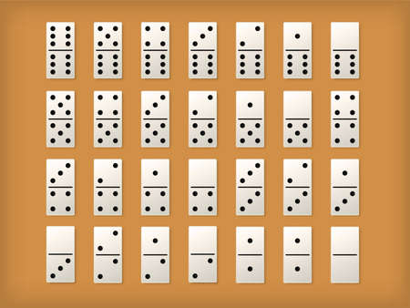 Dominoes white tiles. Vector isolated 3D realistic domino full set