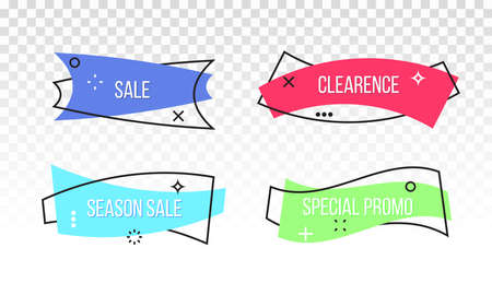 Sale promo and discount offer ribbons or banner tags. Vector line geometric frame design isolated on transparent background Ilustrace