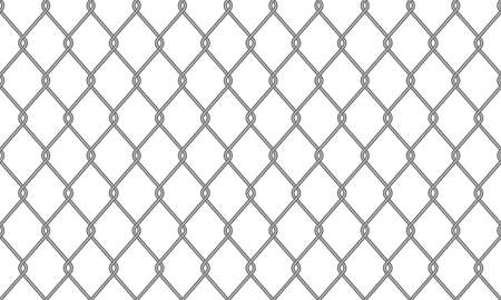 Chain-link fence or wire mesh netting pattern background. Vector seamless realistic metal chain link fence backdrop Illustration