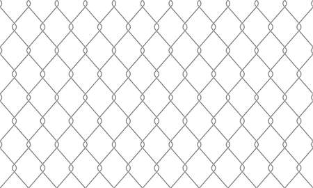 Chain-link fence seamless pattern background. Vector realistic metal or wire mesh netting or chain link fence backdrop Illustration