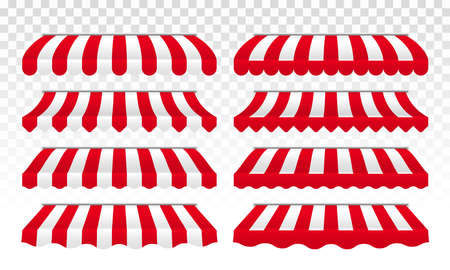 Awnings or striped vector tent for cafe, shop or store roof canopy isolated set