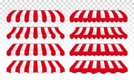 Markizy lub namiot wektor w paski do kawiarni, sklepu lub sklepu na białym tle zadaszenie dachu