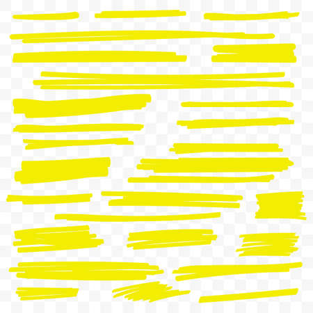 Yellow highlight marker lines or highlighter strokes vector isolated on transparent background Ilustração
