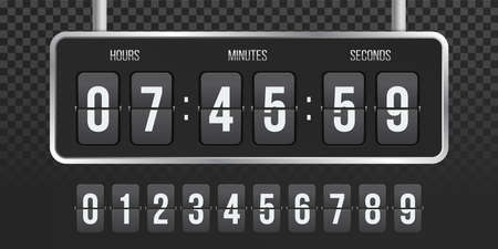 Flip countdown clock counter. Vector hours, minutes and seconds flip numbers on board display