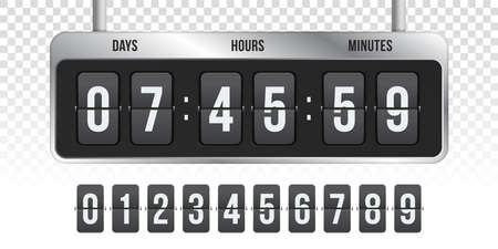 Flip countdown clock counter. Vector hours, minutes and seconds flip numbers on board display on transparent background fro coming soon