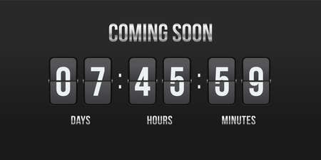 Flip countdown coming soon counter. Vector hours, minutes and seconds flip numbers on board display for web site design Ilustrace