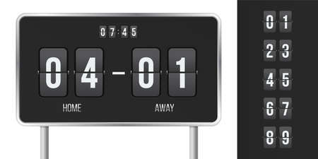 Scoreboard flip countdown with time and match scores. Vector home and away guest sport team flip board display with numbers