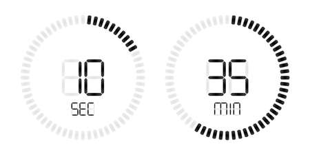 Stopwatch timer or digital countdown with minutes and seconds for smartphone clock and smart watch or time countdown application. Vector isolated black on white background