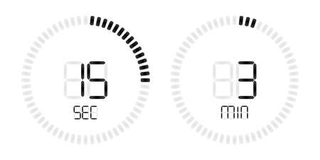 Stopwatch timer with digital countdown minutes and seconds display. Isolated black on white vector background