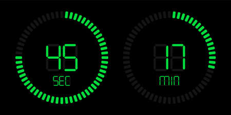 Stopwatch digital countdown timer with minutes and seconds vector display. Isolated green on black background