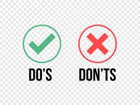 Machen und nicht Häkchen und rote Kreuzsymbole auf transparentem Hintergrund isoliert. Vektor-Do's and Don'ts-Checkliste oder Wahloptionssymbole im Kreisrahmen Vektorgrafik