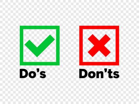 Faire et ne pas vérifier les coches et les icônes de la croix rouge isolées sur fond transparent. Liste de contrôle à faire et à ne pas faire de vecteur ou symboles d'option de choix dans un cadre carré