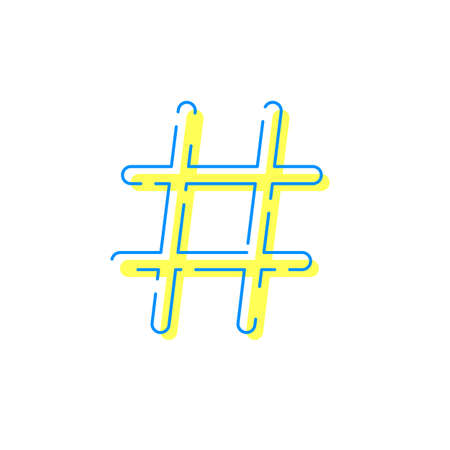 Icône Hashtag pour réseau social ou application Internet. Vector hashtag glitch symbole isolé sur fond blanc