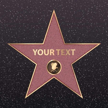 Hollywood star on celebrity fame of walk boukevard. Vector symbol star for iconic movie actor or famous actress template. Gold hollywood star with camera sign on black floor background with texture 스톡 콘텐츠 - 111902571