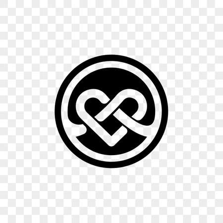 Heart logo vector infinity loop icon. Isolated modern heart symbol for cardiology medical center or charity, Valentine love or wedding greeting card fashion design for web social net application Logó