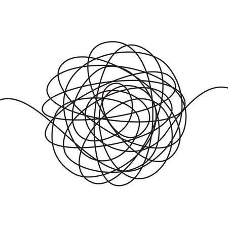 Boceto de garabatos dibujados a mano o forma de garabato abstracto esférico de línea negra. Círculo caótico del doodle del vector que dibuja círculos o nudo del ovillo del hilo aislado en el fondo blanco