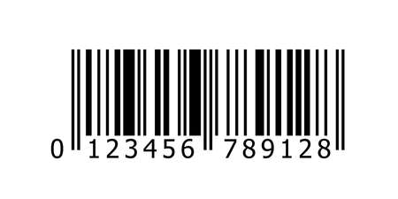 Barcode vector icon with numbers or bar code scan label for product price tag