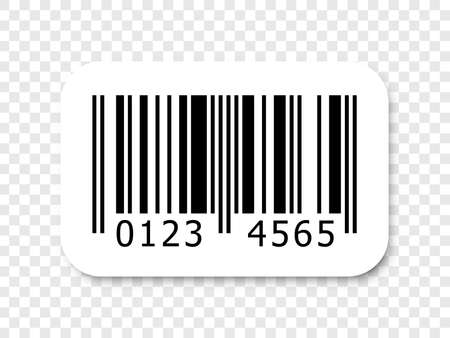 Barcode vector icon with numbers or bar code scan label for product price sticker tag