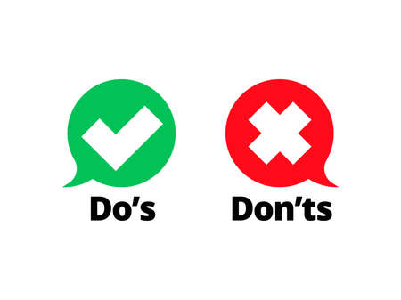 Do and Dont check tick mark and red cross icons isolated on transparent background. Vector Dos and Donts checklist or choice option symbols in circle chat frames Stock Illustratie