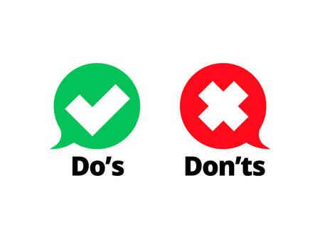 Kontrollkästchen und rote Kreuzsymbole auf transparentem Hintergrund isolieren. Vector Do's and Don'ts Checkliste oder Auswahloptionssymbole in Kreis-Chat-Frames