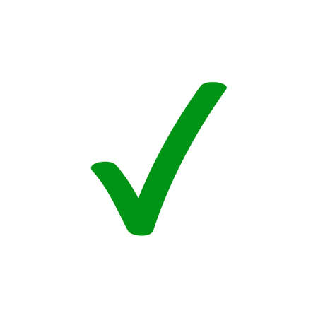 Green tick checkmark vector icon for checkbox marker symbol Ilustracja