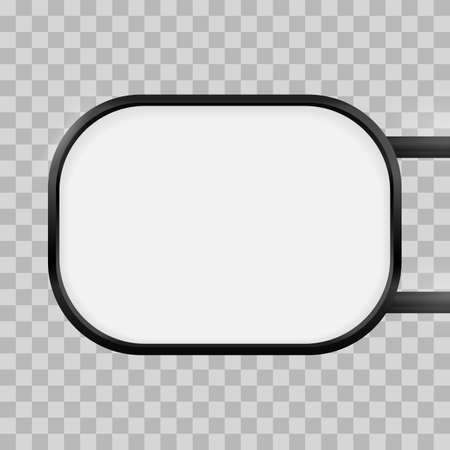 Rounded rectangular signage light box signboard. Vector rectangle lightbox sign box mockup for logo template. Black metal cafe, restaurant outdoor mock up on transparent background