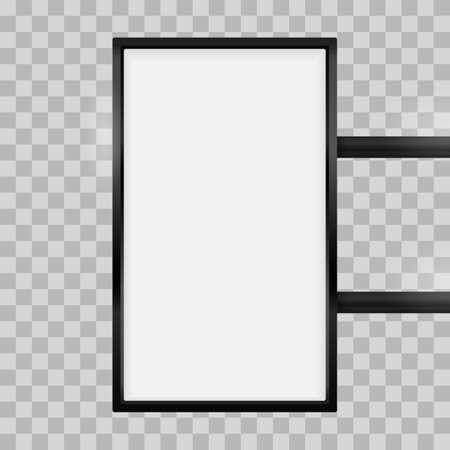 Enseigne de caisson lumineux de signalisation rectangulaire. Maquette de boîte de signe vecteur rectangle vertical lightbox pour modèle de logo. Café en métal noir, restaurant en plein air maquette sur fond transparent