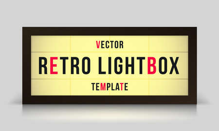 Vector retro lightbox of cinema marquee signage or theater sign in vector frame template Ilustração