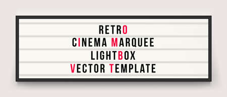 Retro cinema marquee or movie signage lightbox in frame vector template Illustration
