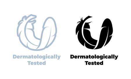 Logo vectoriel testé dermatologiquement d'icône de plume pour étiquette d'étiquette de produit de test de dermatologie hypoallergénique Logo