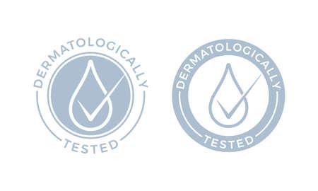 Logotipo dermatológicamente probado. Iconos de gota de agua de vector de etiqueta de paquete hipoalergénico o etiqueta de prueba de dermatología para piel sensible de loción cosmética para niños o productos puros para el cuidado de la piel y el cuerpo