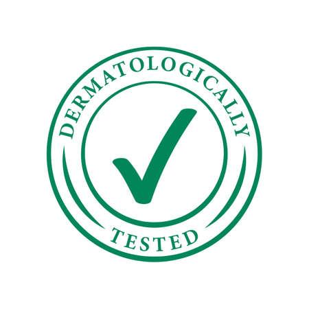 Logo testé dermatologiquement. Icône de coche verte de vecteur d'étiquette de paquet hypoallergénique ou étiquette approuvée de test de dermatologie pour les peaux sensibles, les produits cosmétiques et de soins du corps Logo
