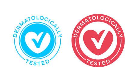 Logo vectoriel testé dermatologiquement du cœur et icône de coche pour timbre médical cliniquement prouvé ou étiquette d'emballage de produit hypoallergénique