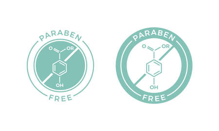 Paraben free label for health and skin safe stamp. Vector paraben chemical formula logo icon for natural skincare cosmetic package design Ilustração